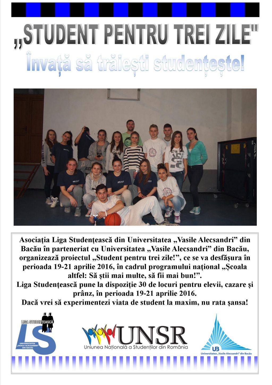 """Student pentru trei zile la Universitatea """"Vasile Alecsandri"""" din Bacău!"""